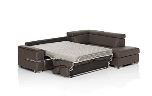 Chiara Full Leather Italian Sectional Sofa Bed Sleeper (Italian Leather Beds)