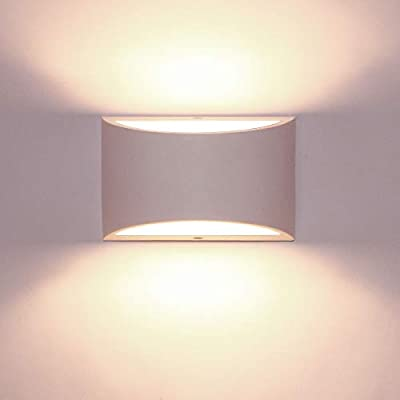 Kernorv Led Wall Sconce, Modern Wall Sconce 7W Warm White Plaster Led Wall Light Up and Down Light for Bedroom Hallway Sitting-Room Porch Office and Hotel