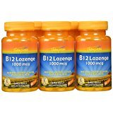 Thompson B-12 Lozenges, Cherry Flavor + Folic Acid, 30 Lozenges,  (Pack of 6)