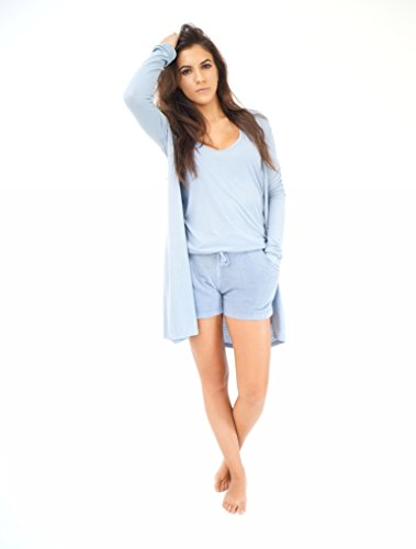 Jersey Ribbed Sweatshirt (BAREFOOT DREAMS LUXE RIBBED JERSEY LONG CARDI (SMALL, CHAMBRAY))