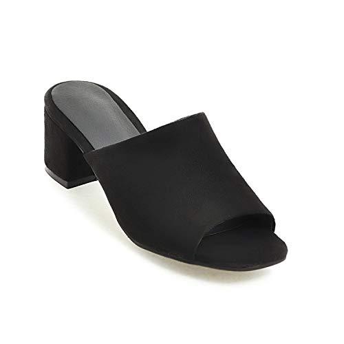 Sheep Women Sandals Thick Heel Sandals Casual Summer Shoes Woman High Heels Women Slippers Size 33-43,Black,4
