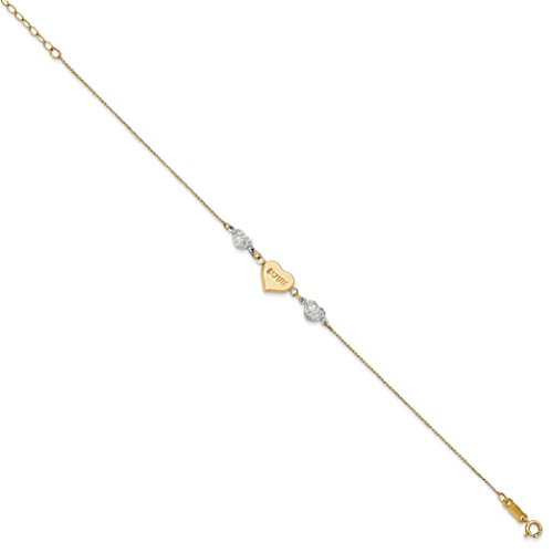 Roy Rose Jewelry 14K Yellow Gold Two Tone Puffed LOVE Heart & Diamond-cut Hearts Bracelet ~ Length 7'' inches by Roy Rose Jewelry (Image #1)