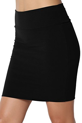 TheMogan Junior's Stretch Cotton Jersey Lined Bodycon Tube Mini Skirt Black -