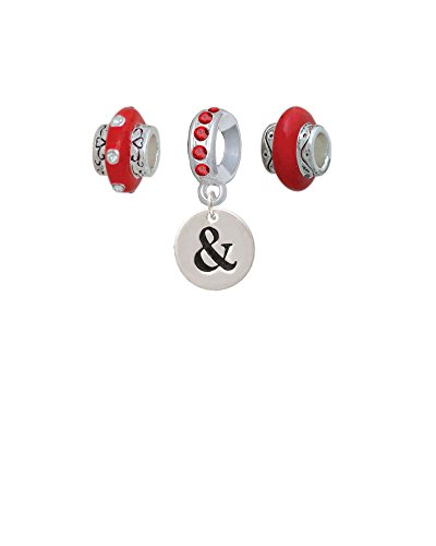 Silvertone Disc 1/2'' - Symbol - Ampersand - & - Red Charm Beads (Set of 3) ()