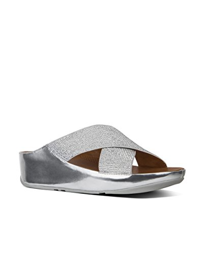 Slide Metallic Sandals Metallic Crossover Crystall Silver Womens Fitflop Pewter TBwx6SPq