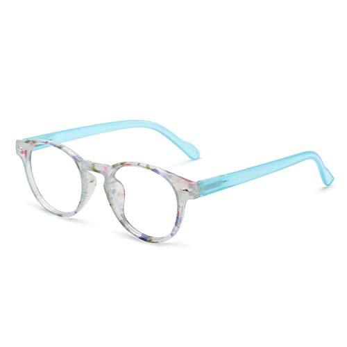 OCCI CHIARI Lightweight Designer Acetate frame Stylish Reading Glasses For Women (15006- Light Blue, 0.00) ()