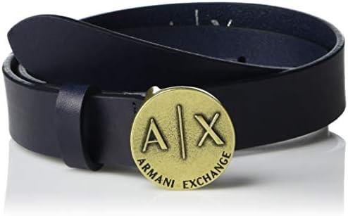 A|X Armani Exchange Women`s AX Logo Coin Buckle Calf Leather Belt