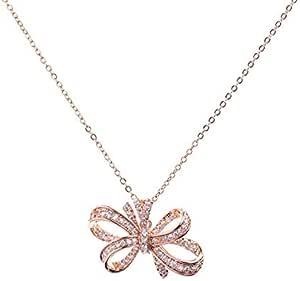 Necklace, Rosegold, Zircon Flower