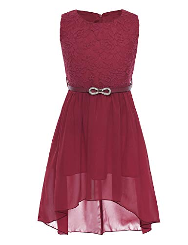 CHICTRY Big Girls' Kids' Chiffon Floral Lace High-Low Dance Prom Party Gown Flower Girl Dress with Belt (6, Belted Burgundy) (Dance Prom Gown)