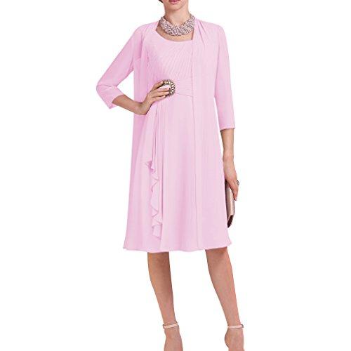 Dressyu Short 3 4 Sleeve 2 Pcs Beaded Chiffon Bridal Mother Dress With Jacket Pink Us26w