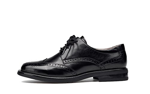 TDA Women's Wingtip Shoes Oxford up Flat Vintage Black Leather Dress Lace Style4 Perforated rrqnHdU