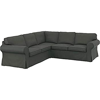 The Thick Cotton IKEA Ektorp 2 2 Sofa Cover Replacement is Custom Made for IKEA Ektorp Corner Or Sectional Sofa Slipcover (Durable Cotton Dark Gray)