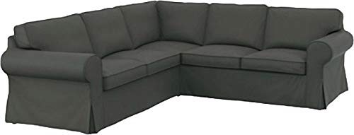 The Thick Cotton IKEA Ektorp 2 2 Sofa Cover Replacement is Custom Made for IKEA Ektorp Corner Or Sectional Sofa Slipcover (Durable Cotton Dark Gray) ()
