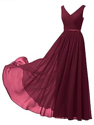 Alicepub V-Neck Chiffon Bridesmaid Dress Long Party Prom Evening Dress Sleeveless, Burgundy, US8