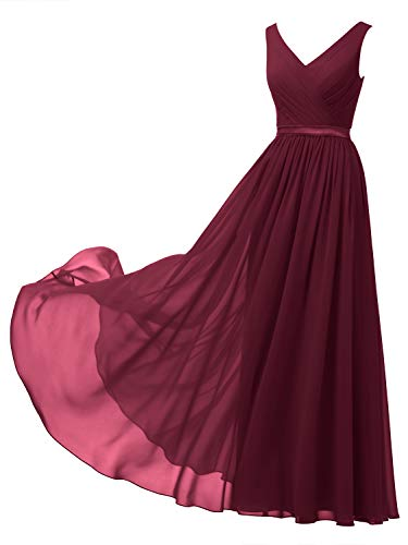 Alicepub V-Neck Chiffon Bridesmaid Dress Long Formal Gown Party Evening Dress Sleeveless, Burgundy, US8 (Burnt Orange Bridesmaid Dresses)