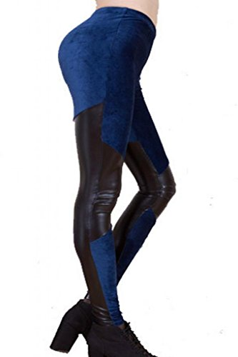 Cheap Lotsyle Women's Faux Leather with Corduroy Leggings Stretch Pants free shipping