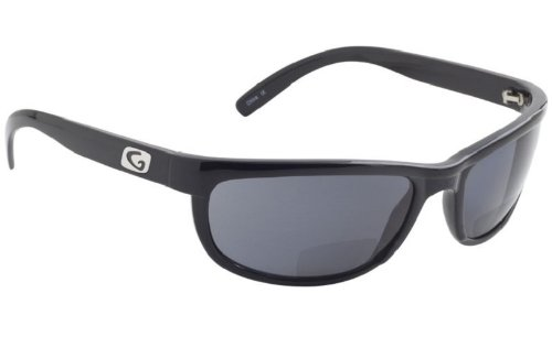 Guideline Eyegear Hatteras Bifocal +1.50 Sunglass, Shiny Black Frame, Deepwater Grey Polarized Lens, - Nearby Sunglasses