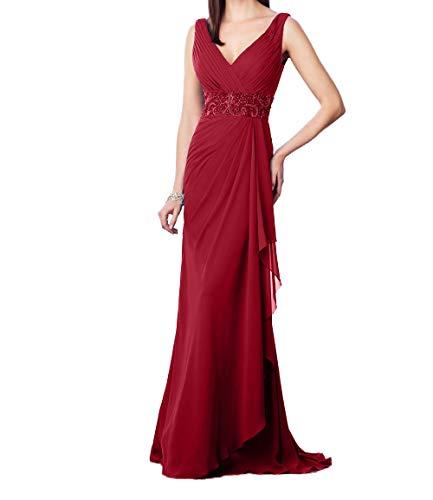 Charmant V Perlen Dunkel Ballkleider Ausschnitt Festlichkleider Rot Pailletten mit Elegant Promkleider Abendkleider Damen rqEpgwr
