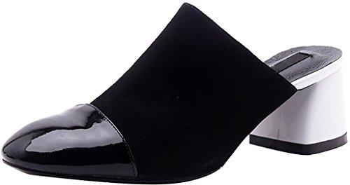 Bloc Et Mules Sabots Glisser Femme Caclearly 5cm Chaussures Blanc Sur Calaier BPZFwq