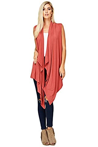 Annabelle Women's Draped Sleeveless Vest Knit Cardigan with Side Pockets 3X-Large Brick Red T1093X - Draped Sleeveless