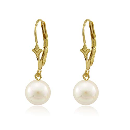 Genuine Freshwater Cultured White 6mm Round Pearl 10K Gold Fleur De Lis Dangling Leverback Earrings