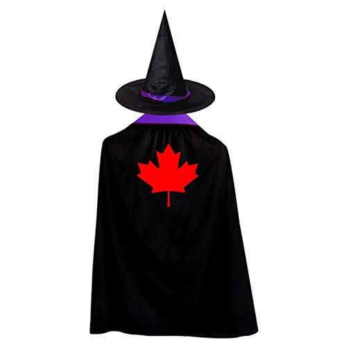 80's Costumes Canada (Canada Maple Leaves Halloween Costumes Witch Wizard Cloak with Hat for Kids Children Halloween Props Set Role Play Cosplay Reversible)