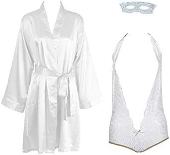 IngerT 4Pcs Wedding Night Robe with Bodysuit Eye Mask Lingerie Set Sleepwear for Women