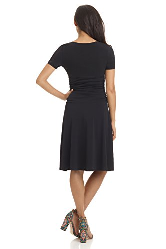 Crossover Flare Short Dress Women's Black Slimming Rekucci Tummy Control N Fit Sleeve UB077aq