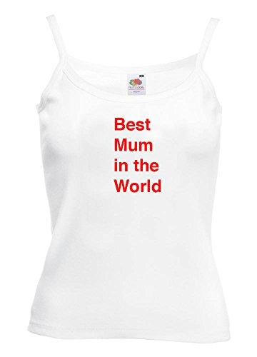 """Con mensaje en inglés """"la mejor mamá del mundo mujer chaleco cuerda blanco"""