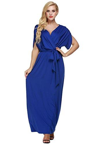 ANGVNS Women's Elegant Batwing Dolman Sleeve Classy Maxi Evening Dress, Size XX-Large, (Classy Evening Wear)