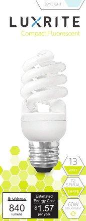 Luxrite LR20180 (4-Pack) 13-Watt CFL T2 Mini Spiral Light Bulb, Equivalent To 60W Incandescent, Daylight 6500K, 900 Lumens, E26 Standard - Yellow Cfl