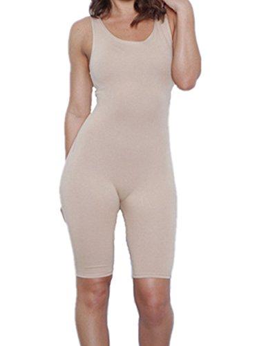 Women Sexy Sleeveless Solid Bodycon Sport Short Jumpsuit Rompers (Large, (Capri Bodysuit)