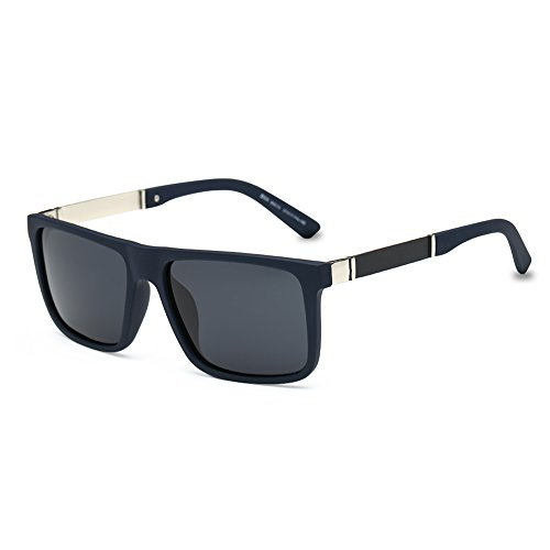 DONNA Trendy Oversized Square Aviator Polarized Sunglasses Wayfarer Style with Big Unbreakable Frame and Anti-glare Lens D54(Black Lens/Deep Blue - Try Your On Online Face Glasses