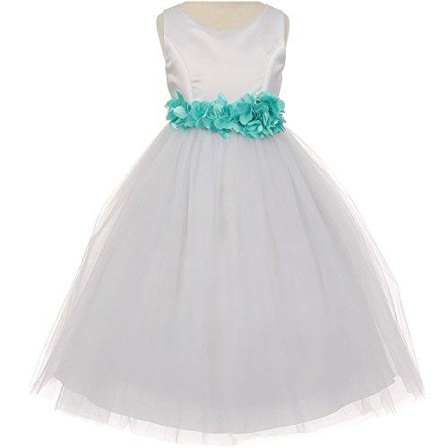 Big Girls Sleeveless Satin Bodice Layers Tulle Skirt Petals Ribbon Sash Flower Girl Dress White Aqua - Size 8 (Sleeveless Bodice Satin)