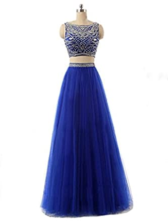 Amazon.com: Sisjuly Womens Crystal Two Pieces Ball Gown Prom Dress With Sleeveless: Clothing