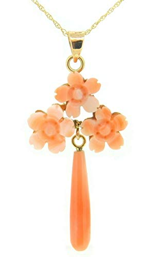 10k Gold Genuine Natural Coral Flower Pendant with 14k Gold Chain (#J4095)