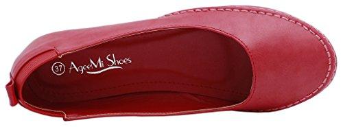 AgeeMi Shoes Mujeres Sin Cordones Sólido Puntera Redonda Cerrada Plano Rojo