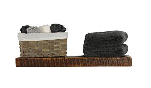 Rustic Floating Mountable Wood Shelf, Antique, Pine, Open Shelving (24'' x 8'' x 2'')