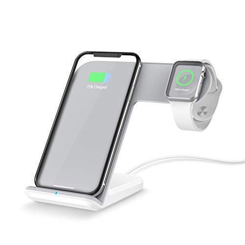 timeless design 8f622 d261c FACEVER 2 in 1 Qi Wireless Charging Station, Portable Dock Fast Charger  Holder Stand Compatible iWatch Apple Watch Series 1 2 3 4, iPhone X XS MAX  XR ...
