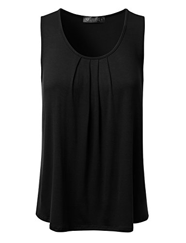 DRESSIS Women's Basic Soft Pleated Scoop Neck Sleeveless Loose Fit Tank Top BLACK XL