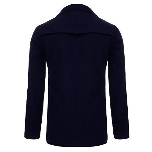 Cappotto Trench Monopetto Uomo Giacca Lungo Inverno warm Overcoat Blu Elegante Scuro Cappotti Parka Niuqy Winter Capispalla Soprabito Long 453ARLj