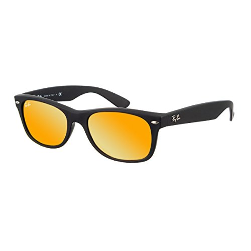 Ray-Ban RB2132 New Wayfarer Mirrored Sunglasses, Black Rubber/Orange Flash, 52 mm -