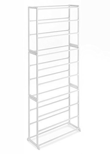 Whitmor 10 Tier 30 Pair Floor Shoe Tower White - Tall Shoe Racks