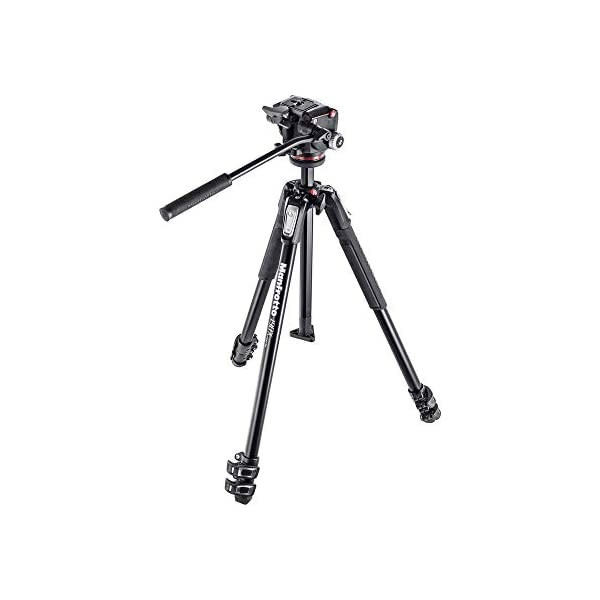 RetinaPix Manfrotto MK190X3-2W 190 Aluminum 3 Section Tripod Kit with MHXPRO-2W Fluid Head