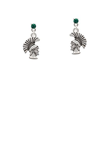 Small Trojan - Mascot Green Crystal Post Earrings