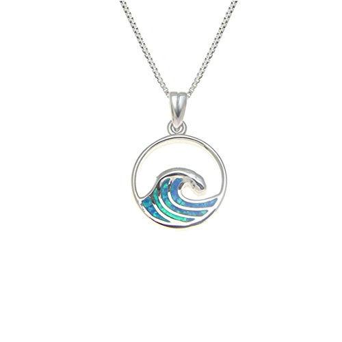 Large Sterling Silver 925 Synthetic Opal Ocean Wave Pendant Necklace