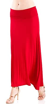 Red Ladies Pastel Fold-Over Waist Maxi Skirt Asymmetrical Hem