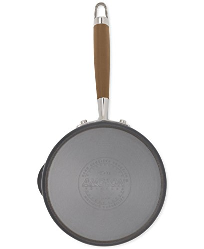 Anolon Advanced Bronze Hard Anodized Nonstick 3-Quart Covered Straining Saucepan with Spouts