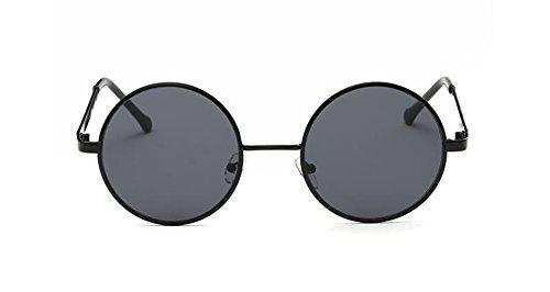 Grise cercle Feuille lunettes de A en du rond retro métallique polarisées inspirées soleil vintage style Lennon O6qrOgvx