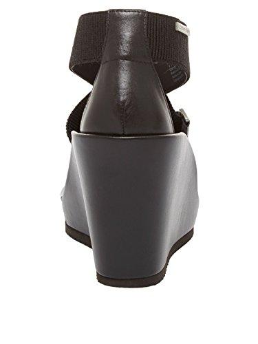 Para Calvin De Sandalias Mujer Klein Cuero Vestir Negro Jeans YxrSYw6q
